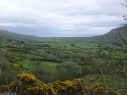 View of the Glen in Glenariff Forest Park looking towards the Antrim Coast Rd beside the Irish Sea.