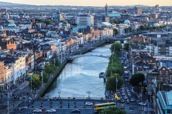 Over Head View of River Liffey and Dublin City, Ireland