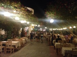Restaurant in Kos in evening.
